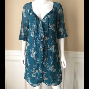 Lauren Conrad floral aqua 3/4 sleeve dress